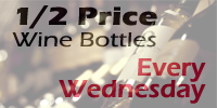 Half-price Wine by the bottle! Every Wednesday at Marty's Grill